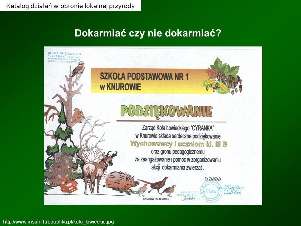 Katalog działań w obronie lokalnej przyrody Dokarmiać czy nie dokarmiać? http://www.mspnr1.republika.pl/kolo_lowieckie.jpg