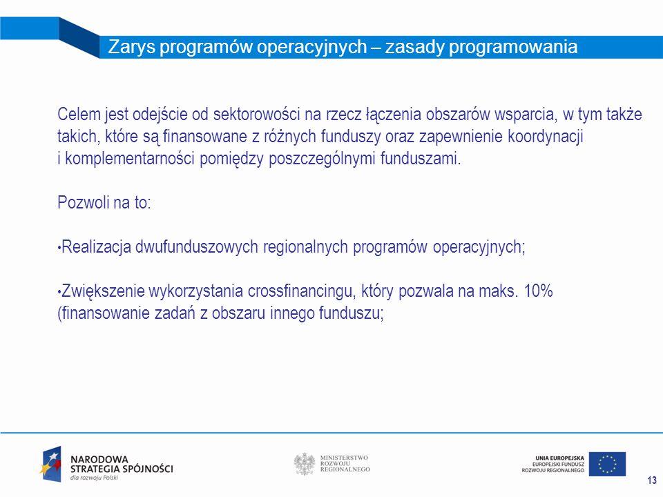 13 Zarys programów operacyjnych – zasady programowania Celem jest odejście od sektorowości na rzecz łączenia obszarów wsparcia, w tym także takich, kt