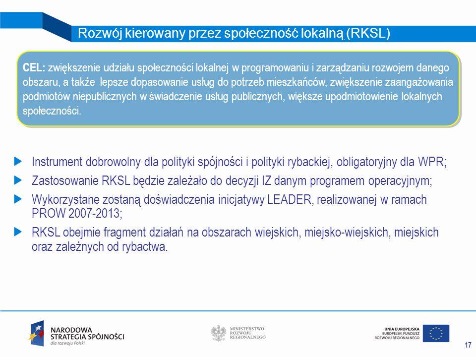 17 Rozwój kierowany przez społeczność lokalną (RKSL) Instrument dobrowolny dla polityki spójności i polityki rybackiej, obligatoryjny dla WPR; Zastoso