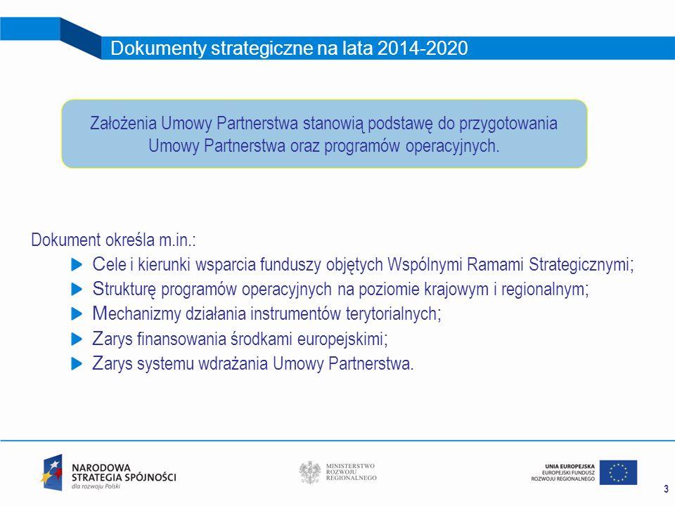 3 Dokumenty strategiczne na lata 2014-2020 Dokument określa m.in.: C ele i kierunki wsparcia funduszy objętych Wspólnymi Ramami Strategicznymi ; S tru