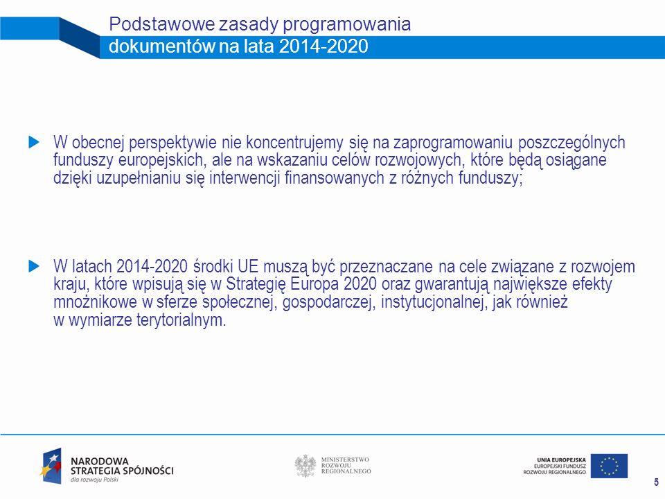 5 Podstawowe zasady programowania dokumentów na lata 2014-2020 W obecnej perspektywie nie koncentrujemy się na zaprogramowaniu poszczególnych funduszy