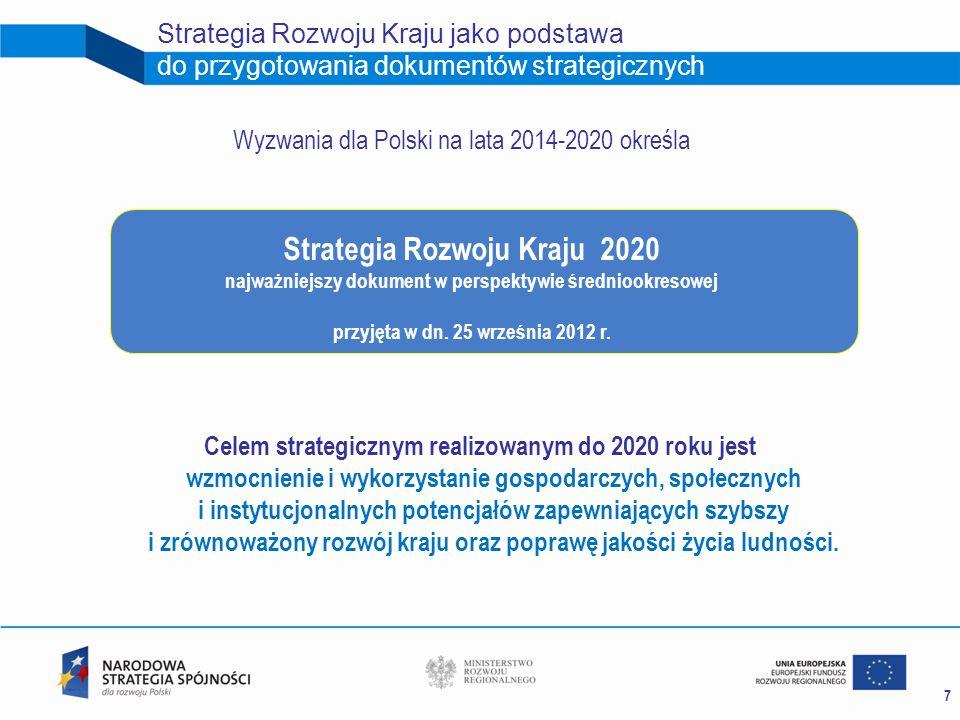 7 Strategia Rozwoju Kraju jako podstawa do przygotowania dokumentów strategicznych Strategia Rozwoju Kraju 2020 najważniejszy dokument w perspektywie
