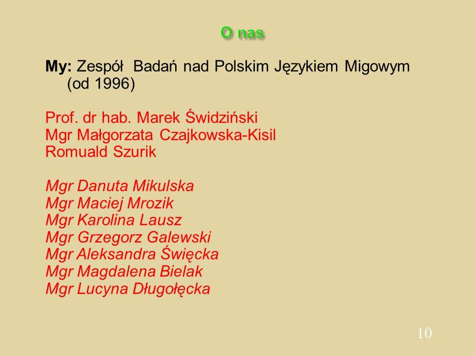 10 O nas My: Zespół Badań nad Polskim Językiem Migowym (od 1996) Prof. dr hab. Marek Świdziński Mgr Małgorzata Czajkowska-Kisil Romuald Szurik Mgr Dan