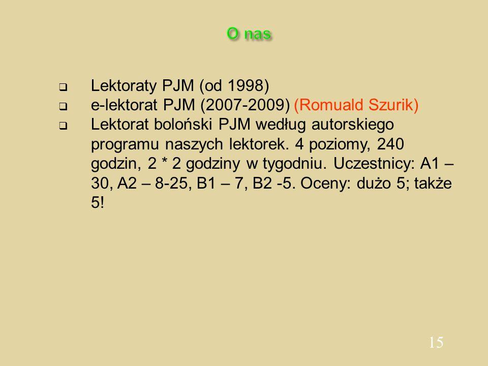 15 O nas Lektoraty PJM (od 1998) e-lektorat PJM (2007-2009) (Romuald Szurik) Lektorat boloński PJM według autorskiego programu naszych lektorek. 4 poz