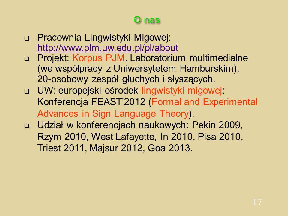17 O nas Pracownia Lingwistyki Migowej: http://www.plm.uw.edu.pl/pl/about Projekt: Korpus PJM. Laboratorium multimedialne (we współpracy z Uniwersytet