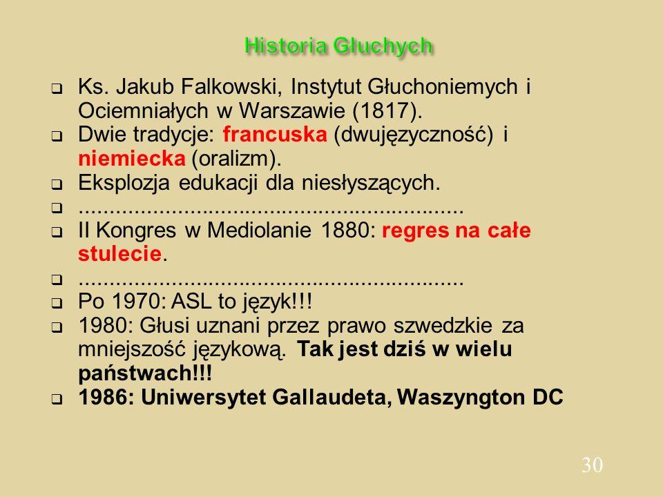 30 Historia Głuchych Ks. Jakub Falkowski, Instytut Głuchoniemych i Ociemniałych w Warszawie (1817). Dwie tradycje: francuska (dwujęzyczność) i niemiec