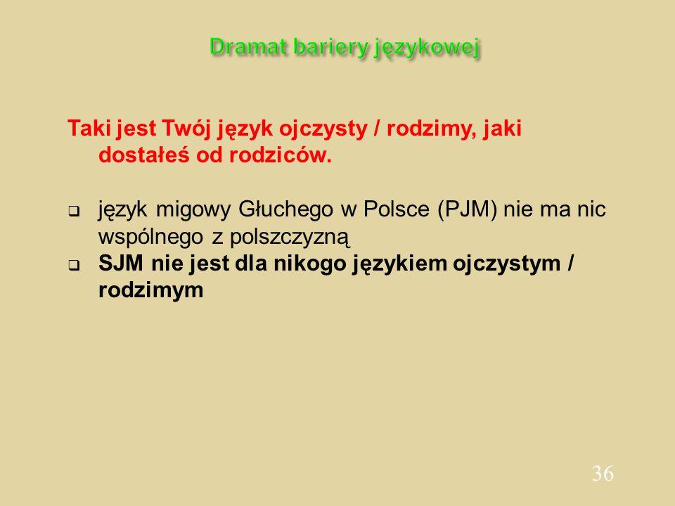 36 Dramat bariery językowej Taki jest Twój język ojczysty / rodzimy, jaki dostałeś od rodziców. język migowy Głuchego w Polsce (PJM) nie ma nic wspóln