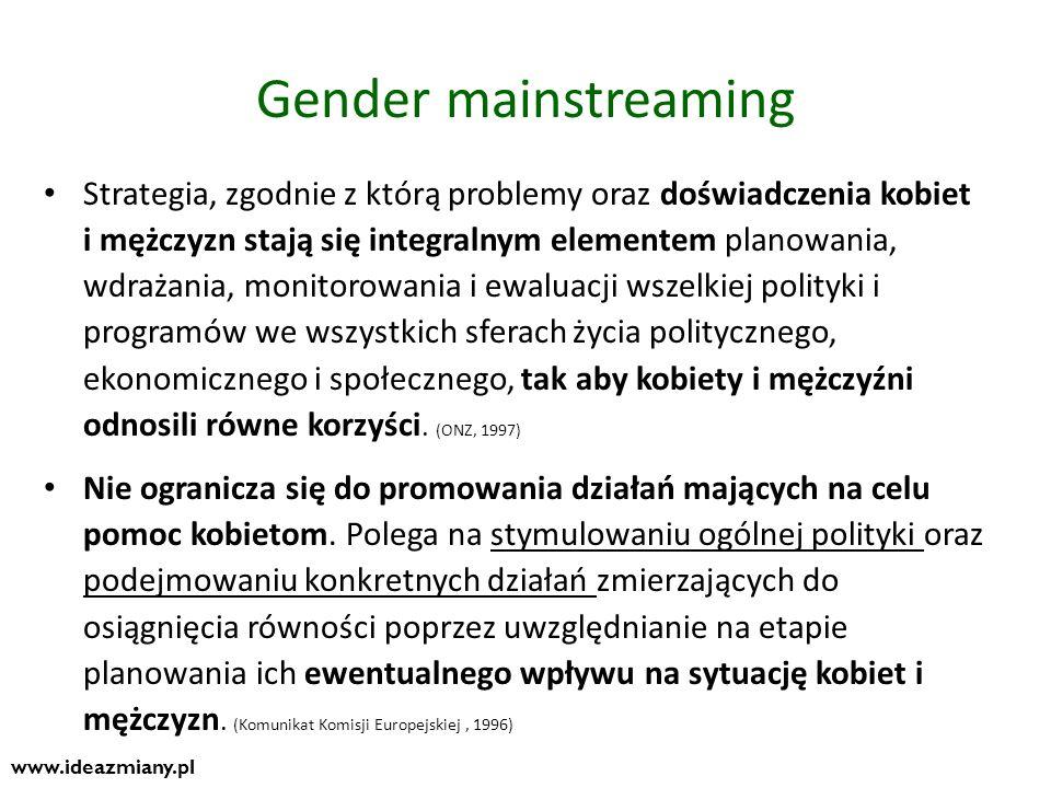 2 filary równości Konkretne działania Specific actions/ measures Działania mające na celu przyśpieszenie zmian na rzecz równości poprzez wyrównanie sytuacji kobiet i mężczyzn Działania skierowane do kobiet lub na relacje między kobietami i mężczyznami Celem jest rzeczywista równość, szybka zmiana społeczna Polityka równości płci Gender mainstreaming Perspektywa płci obecna na każdym etapie tworzenia polityki: planowanie, wdrażanie, monitoring i ewaluacja Wpływ działań oceniany jest z perspektywy wpływu na życie i położenie kobiet i mężczyzn.