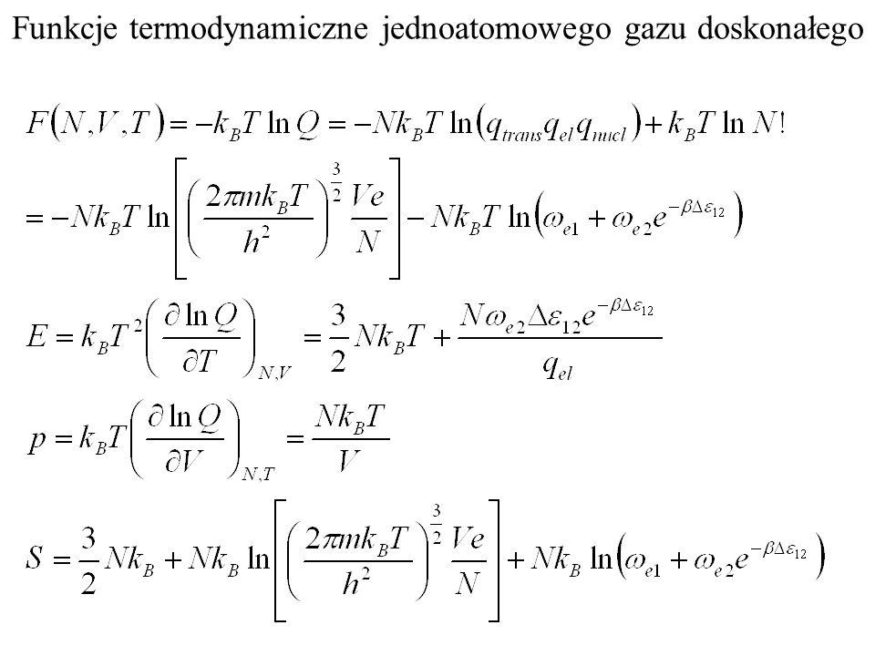 Funkcje termodynamiczne jednoatomowego gazu doskonałego