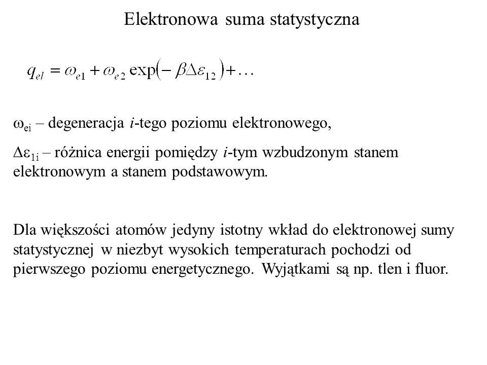 Elektronowa suma statystyczna ei – degeneracja i-tego poziomu elektronowego, 1i – różnica energii pomiędzy i-tym wzbudzonym stanem elektronowym a stan