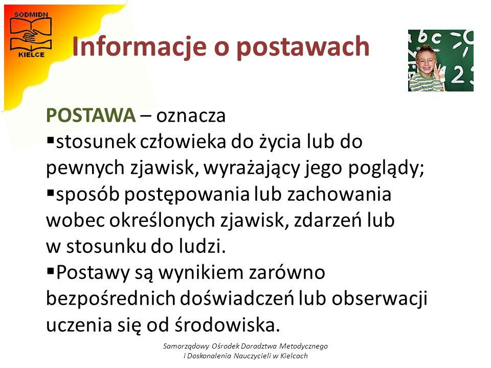 Informacje o postawach Samorządowy Ośrodek Doradztwa Metodycznego i Doskonalenia Nauczycieli w Kielcach POSTAWA – oznacza stosunek człowieka do życia