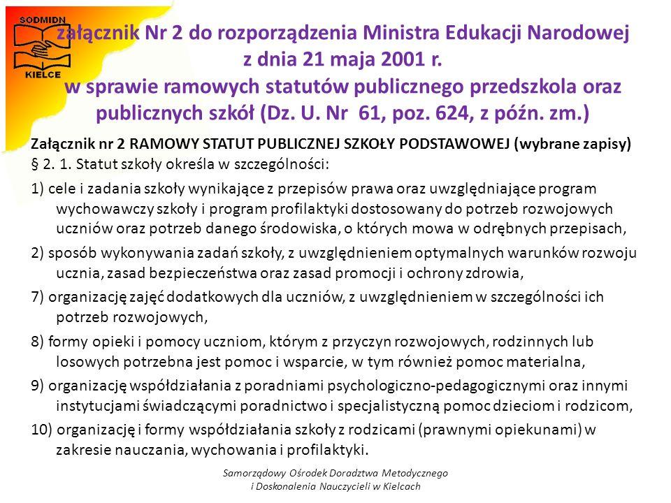 załącznik Nr 2 do rozporządzenia Ministra Edukacji Narodowej z dnia 21 maja 2001 r. w sprawie ramowych statutów publicznego przedszkola oraz publiczny