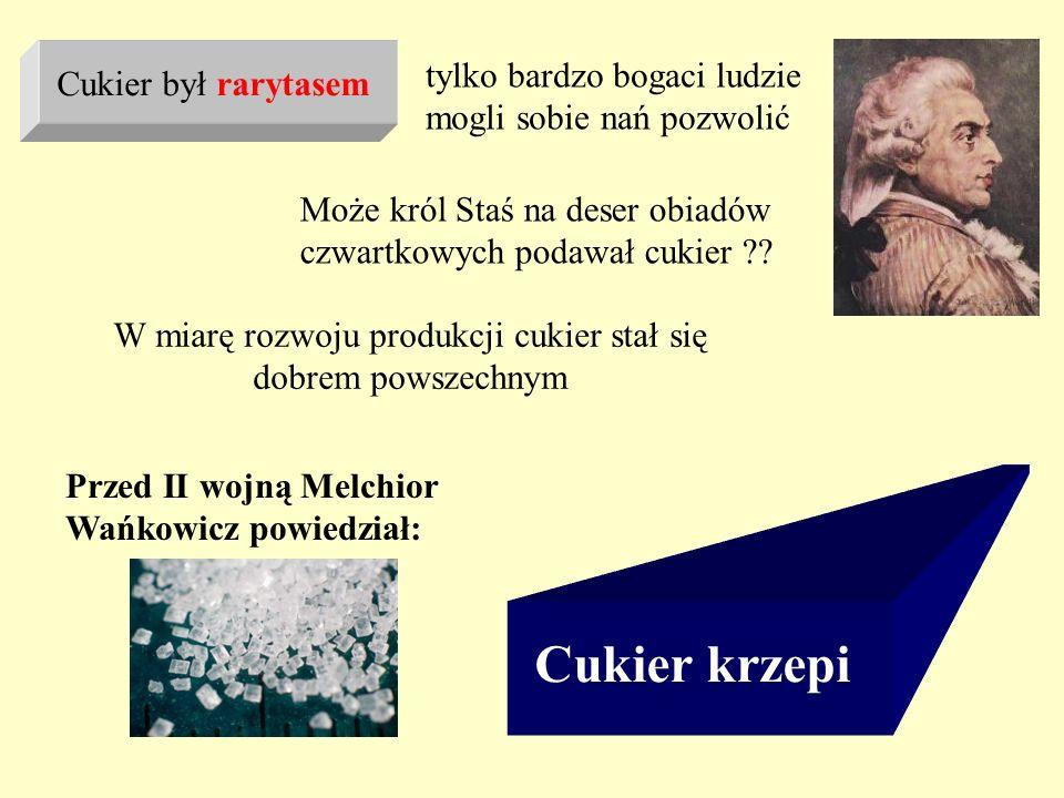 Przed II wojną Melchior Wańkowicz powiedział: Cukier krzepi tylko bardzo bogaci ludzie mogli sobie nań pozwolić Cukier był rarytasem Może król Staś na