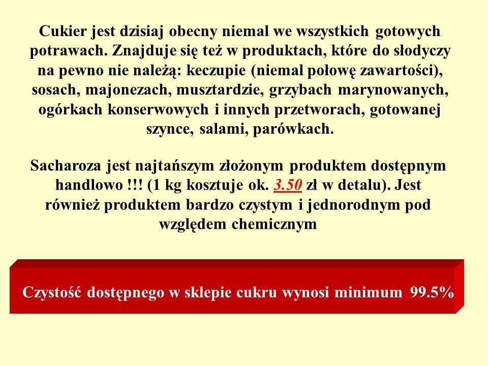 Sacharoza jest najtańszym złożonym produktem dostępnym handlowo !!! (1 kg kosztuje ok. 3.50 zł w detalu). Jest również produktem bardzo czystym i jedn
