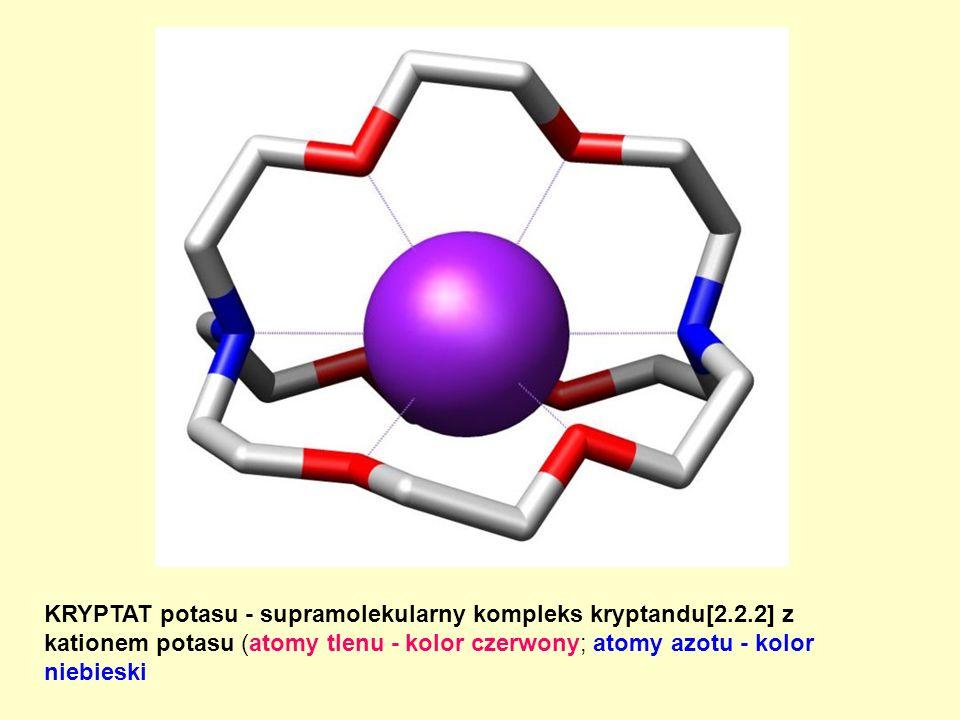 KRYPTAT potasu - supramolekularny kompleks kryptandu[2.2.2] z kationem potasu (atomy tlenu - kolor czerwony; atomy azotu - kolor niebieski