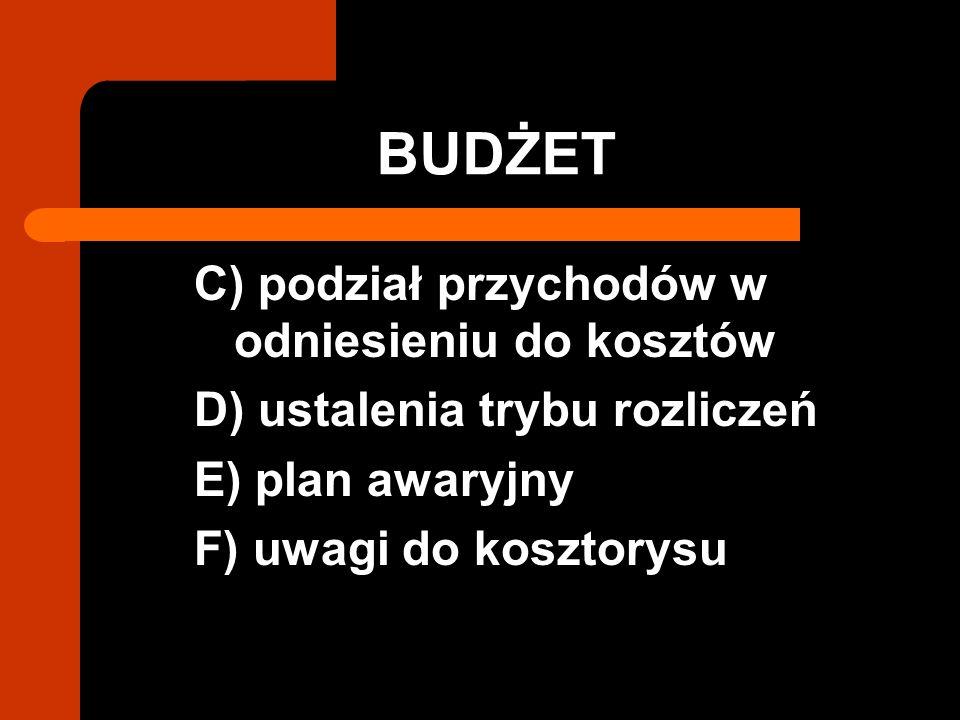 BUDŻET C) podział przychodów w odniesieniu do kosztów D) ustalenia trybu rozliczeń E) plan awaryjny F) uwagi do kosztorysu