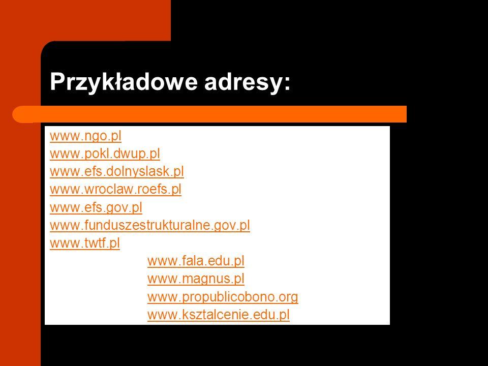 Przykładowe adresy: www.ngo.pl www.pokl.dwup.pl www.efs.dolnyslask.pl www.wroclaw.roefs.pl www.efs.gov.pl www.funduszestrukturalne.gov.pl www.twtf.pl