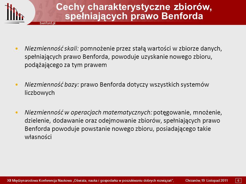 6 benford.pl XII Międzynarodowa Konferencja Naukowa Oświata, nauka i gospodarka w poszukiwaniu dobrych rozwiązań, Chrzanów,19 Listopad 2011 Cechy char