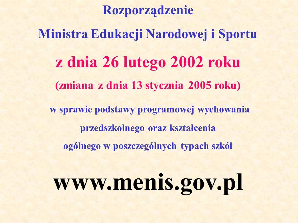 Rozporządzenie Ministra Edukacji Narodowej i Sportu z dnia 26 lutego 2002 roku (zmiana z dnia 13 stycznia 2005 roku) w sprawie podstawy programowej wychowania przedszkolnego oraz kształcenia ogólnego w poszczególnych typach szkół www.menis.gov.pl
