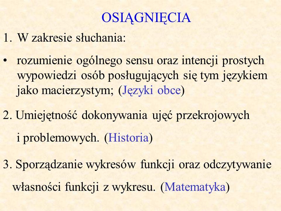 OSIĄGNIĘCIA 1.W zakresie słuchania: rozumienie ogólnego sensu oraz intencji prostych wypowiedzi osób posługujących się tym językiem jako macierzystym; (Języki obce) 2.