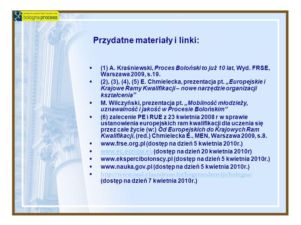 Przydatne materiały i linki: (1) A. Kraśniewski, Proces Boloński to już 10 lat, Wyd. FRSE, Warszawa 2009, s.19. (2), (3), (4), (5) E. Chmielecka, prez