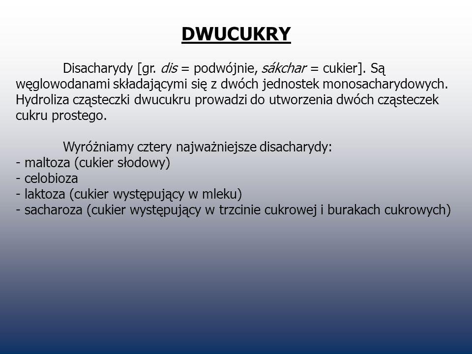 DWUCUKRY Disacharydy [gr. dis = podwójnie, sákchar = cukier]. Są węglowodanami składającymi się z dwóch jednostek monosacharydowych. Hydroliza cząstec