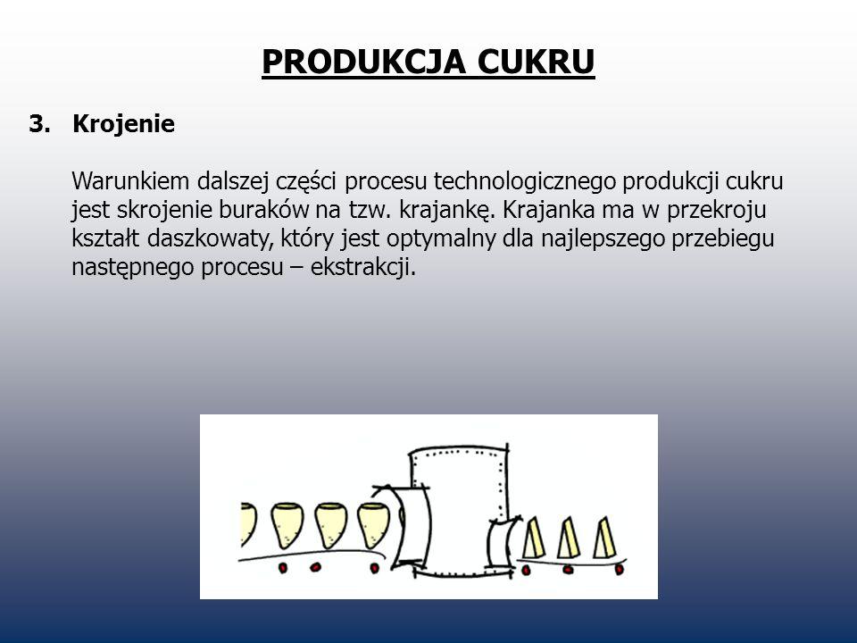 PRODUKCJA CUKRU 3. Krojenie Warunkiem dalszej części procesu technologicznego produkcji cukru jest skrojenie buraków na tzw. krajankę. Krajanka ma w p