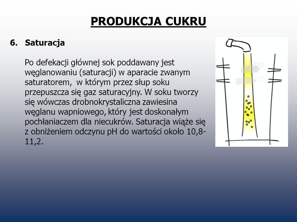 PRODUKCJA CUKRU 6. Saturacja Po defekacji głównej sok poddawany jest węglanowaniu (saturacji) w aparacie zwanym saturatorem, w którym przez słup soku