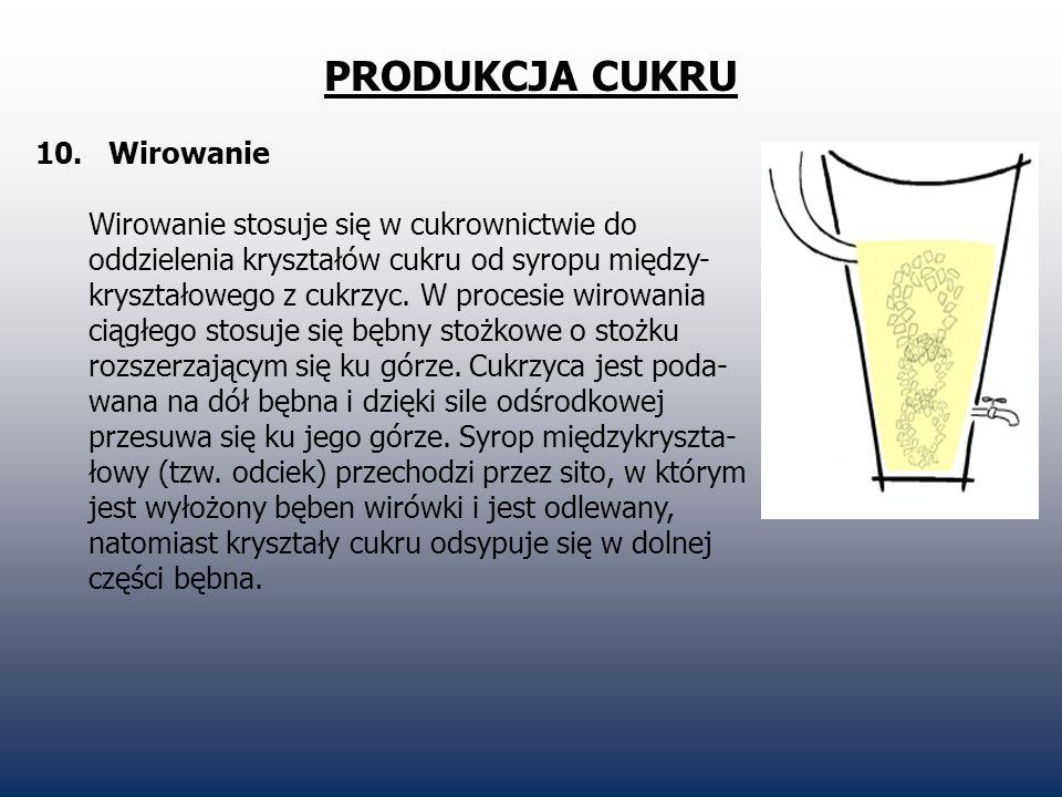 PRODUKCJA CUKRU 10. Wirowanie Wirowanie stosuje się w cukrownictwie do oddzielenia kryształów cukru od syropu między- kryształowego z cukrzyc. W proce