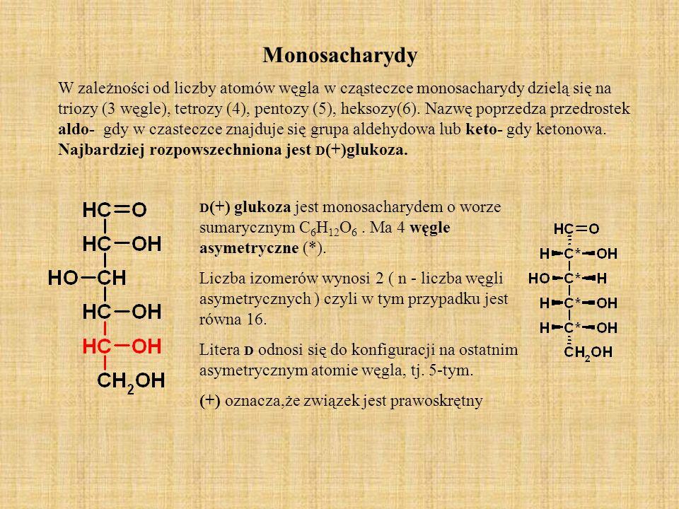 Monosacharydy W zależności od liczby atomów węgla w cząsteczce monosacharydy dzielą się na triozy (3 węgle), tetrozy (4), pentozy (5), heksozy(6).