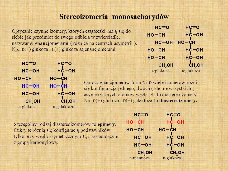 Stereoizomeria monosacharydów Optycznie czynne izomery, których cząsteczki mają się do siebie jak przedmiot do swego odbicia w zwierciadle, nazywamy enancjomerami ( różnica na centrach asymetrii ).
