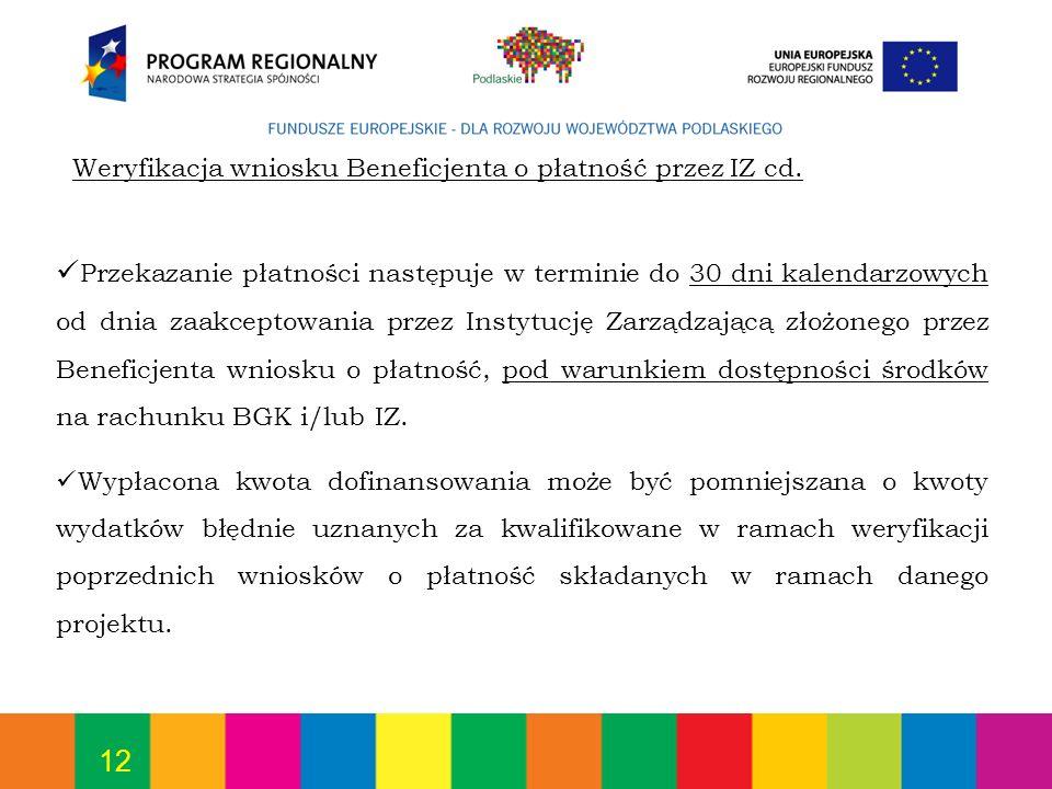 12 Weryfikacja wniosku Beneficjenta o płatność przez IZ cd. Przekazanie płatności następuje w terminie do 30 dni kalendarzowych od dnia zaakceptowania