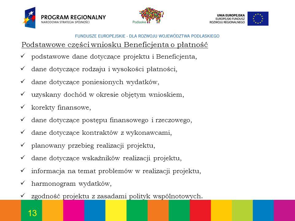 13 Podstawowe części wniosku Beneficjenta o płatność podstawowe dane dotyczące projektu i Beneficjenta, dane dotyczące rodzaju i wysokości płatności,