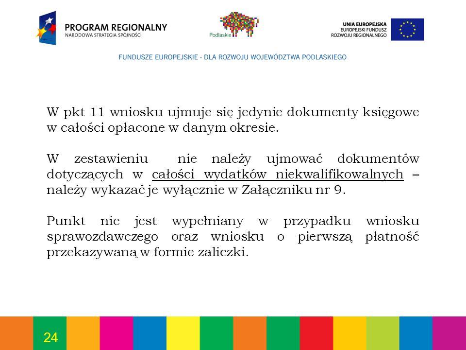 24 W pkt 11 wniosku ujmuje się jedynie dokumenty księgowe w całości opłacone w danym okresie. W zestawieniu nie należy ujmować dokumentów dotyczących