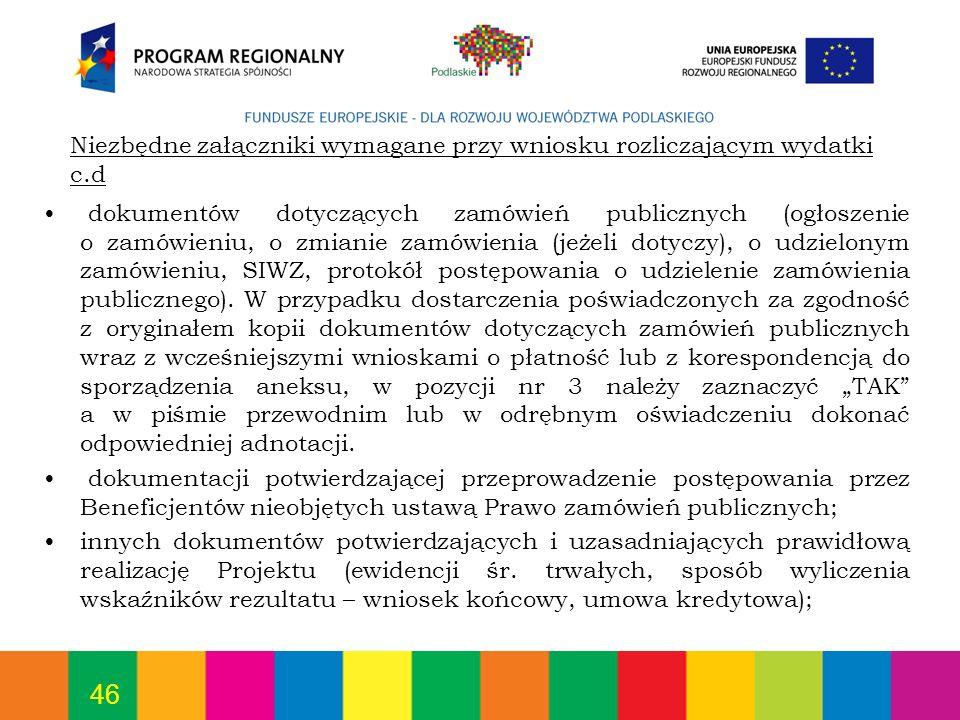 46 dokumentów dotyczących zamówień publicznych (ogłoszenie o zamówieniu, o zmianie zamówienia (jeżeli dotyczy), o udzielonym zamówieniu, SIWZ, protokó