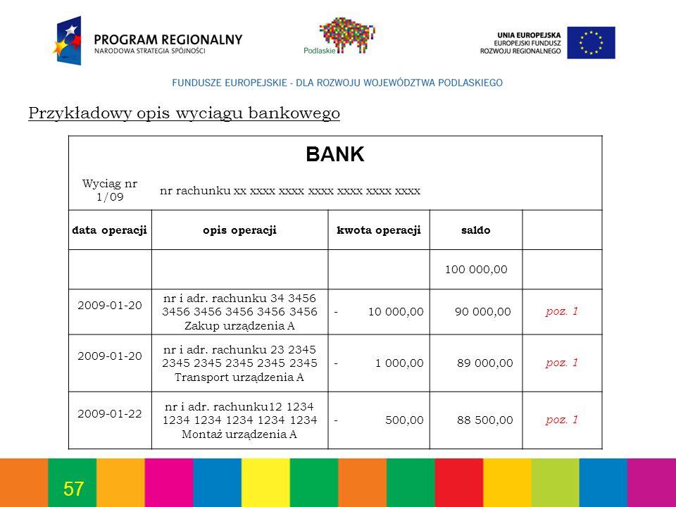 57 Przykładowy opis wyciągu bankowego BANK Wyciąg nr 1/09 nr rachunku xx xxxx xxxx xxxx xxxx xxxx xxxx data operacjiopis operacjikwota operacjisaldo 1