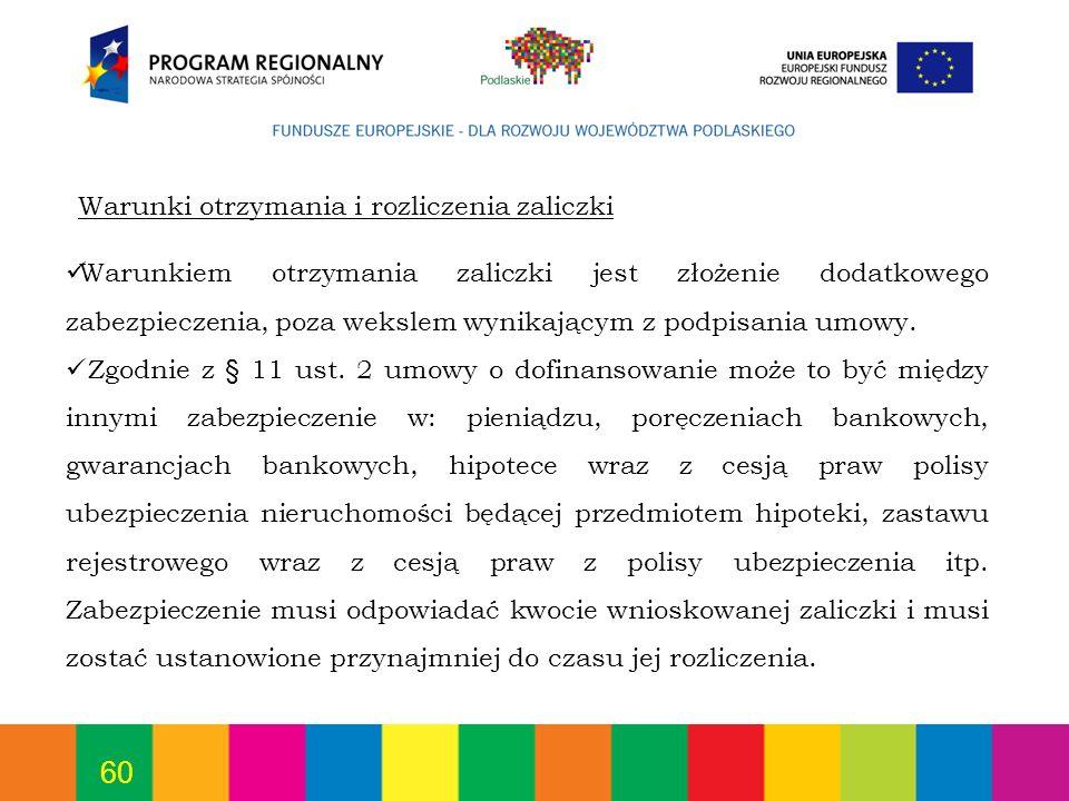 60 Warunkiem otrzymania zaliczki jest złożenie dodatkowego zabezpieczenia, poza wekslem wynikającym z podpisania umowy. Zgodnie z § 11 ust. 2 umowy o