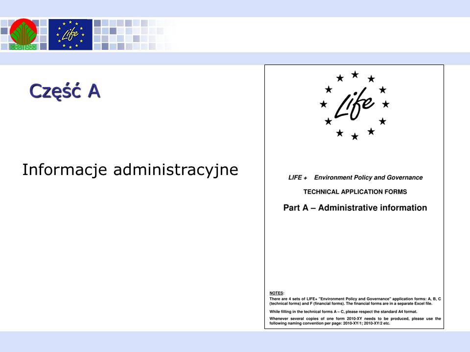 Część A Informacje administracyjne Informacje administracyjne