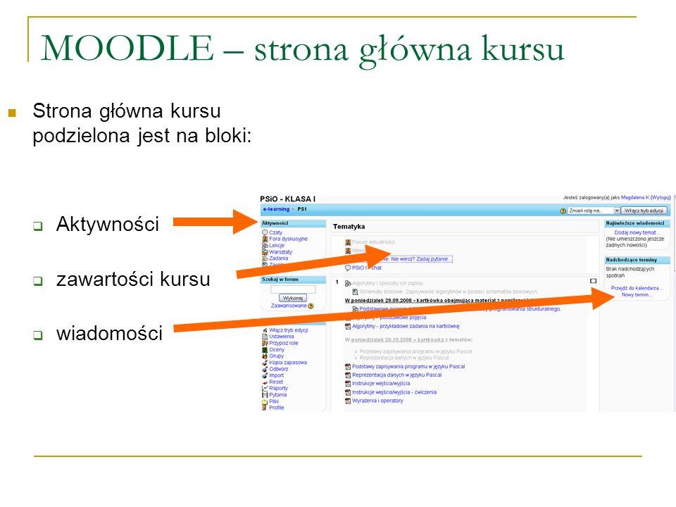 MOODLE – strona główna kursu Strona główna kursu podzielona jest na bloki: Aktywności zawartości kursu wiadomości