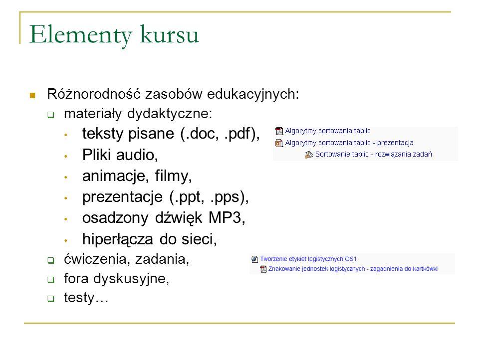 Elementy kursu Różnorodność zasobów edukacyjnych: materiały dydaktyczne: teksty pisane (.doc,.pdf), Pliki audio, animacje, filmy, prezentacje (.ppt,.p