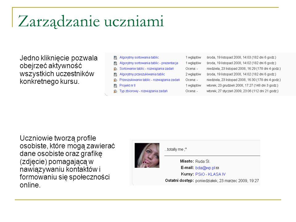 Zarządzanie uczniami Jedno kliknięcie pozwala obejrzeć aktywność wszystkich uczestników konkretnego kursu. Uczniowie tworzą profile osobiste, które mo