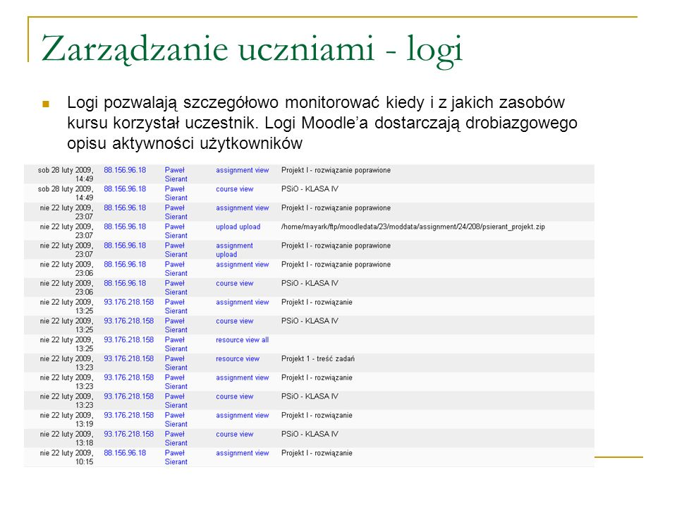 Zarządzanie uczniami - logi Logi pozwalają szczegółowo monitorować kiedy i z jakich zasobów kursu korzystał uczestnik. Logi Moodlea dostarczają drobia