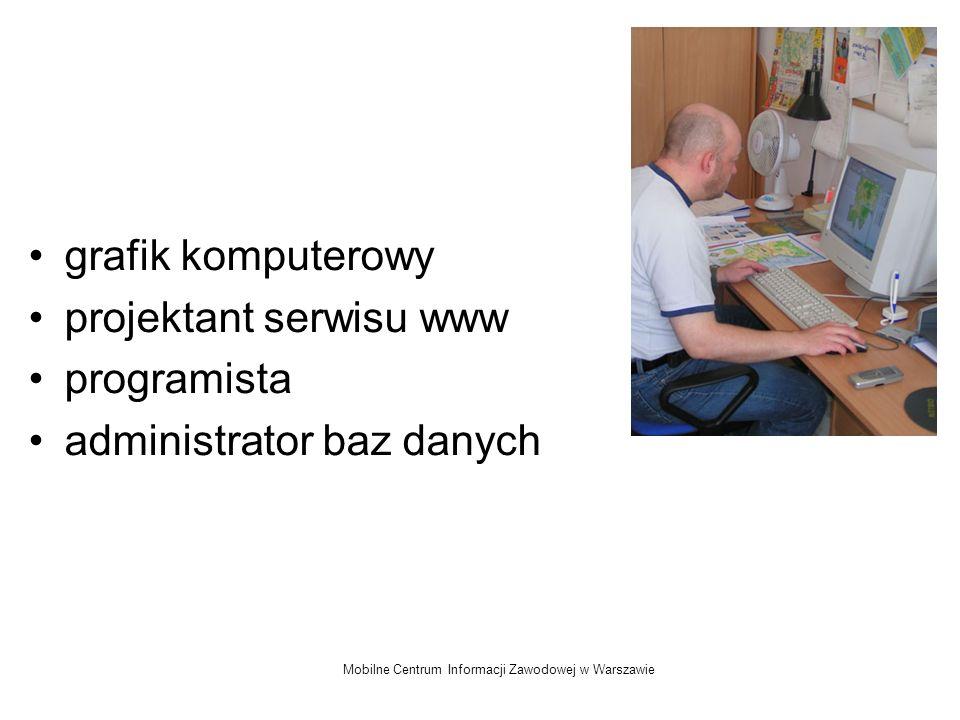 Mobilne Centrum Informacji Zawodowej w Warszawie grafik komputerowy projektant serwisu www programista administrator baz danych