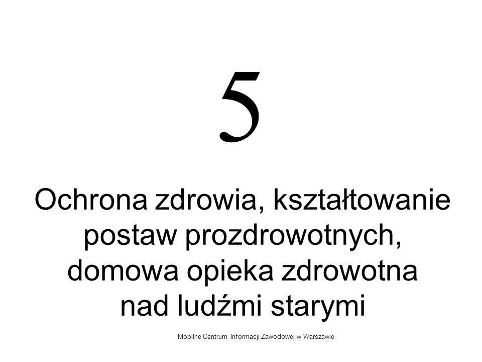 Mobilne Centrum Informacji Zawodowej w Warszawie 5 Ochrona zdrowia, kształtowanie postaw prozdrowotnych, domowa opieka zdrowotna nad ludźmi starymi