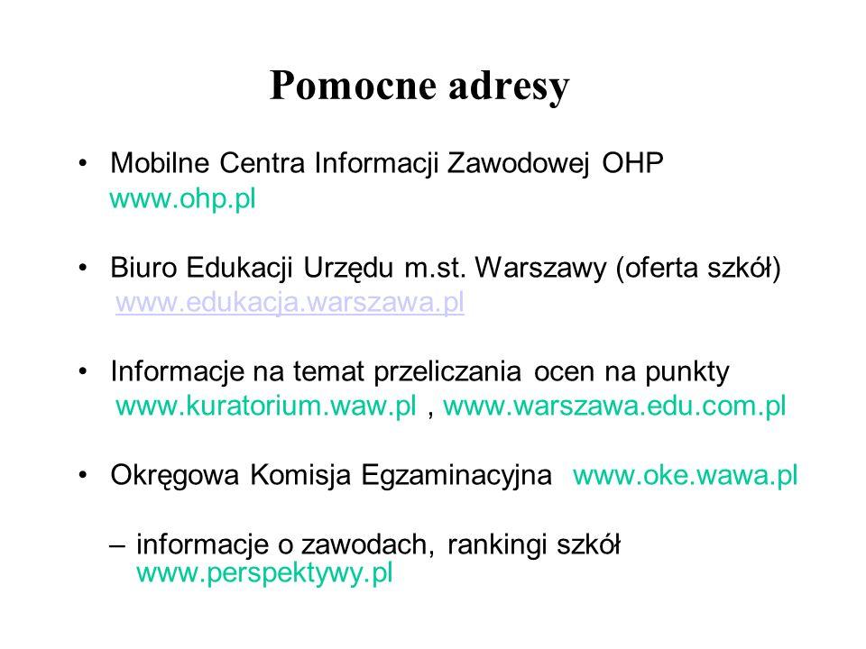 Pomocne adresy Mobilne Centra Informacji Zawodowej OHP www.ohp.pl Biuro Edukacji Urzędu m.st. Warszawy (oferta szkół) www.edukacja.warszawa.pl Informa
