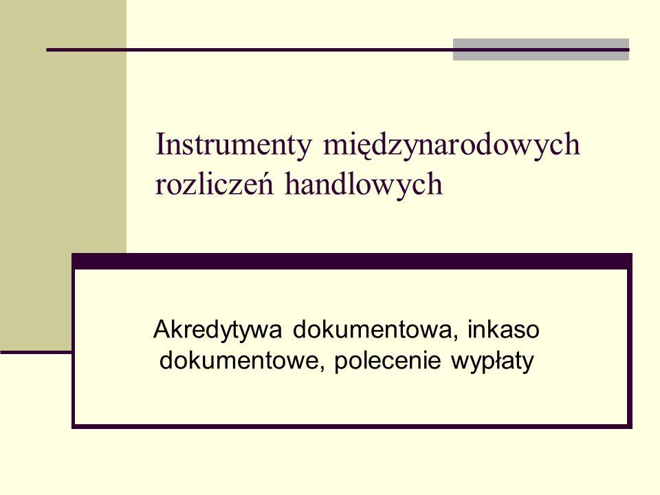 Instrumenty międzynarodowych rozliczeń handlowych Akredytywa dokumentowa, inkaso dokumentowe, polecenie wypłaty