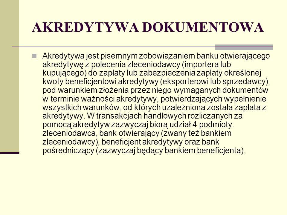 AKREDYTYWA DOKUMENTOWA Akredytywa jest pisemnym zobowiązaniem banku otwierającego akredytywę z polecenia zleceniodawcy (importera lub kupującego) do z