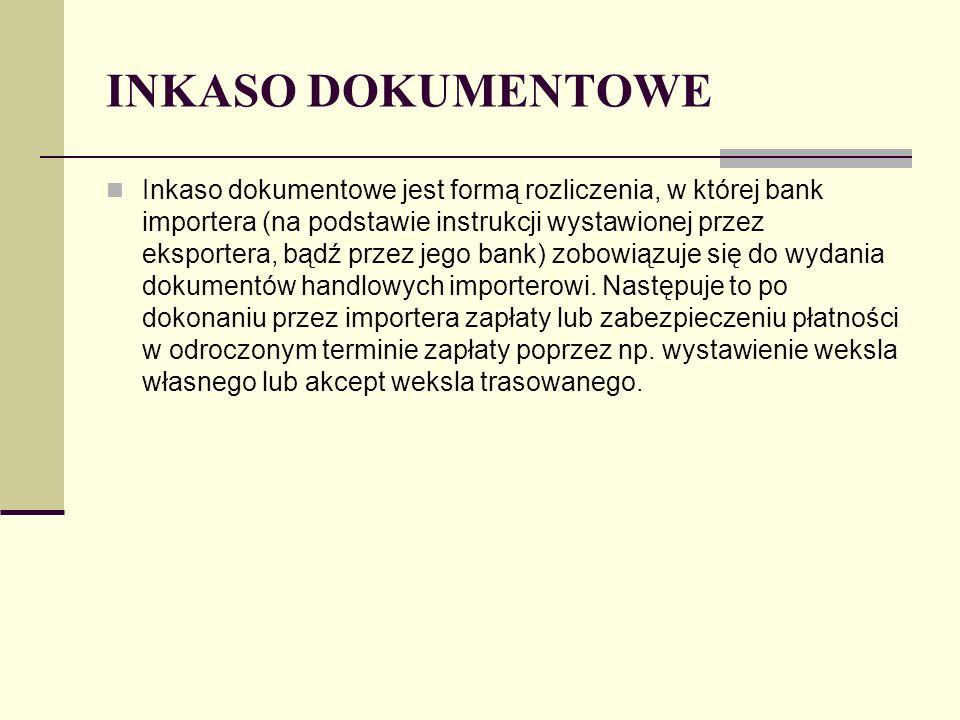 INKASO DOKUMENTOWE Inkaso dokumentowe jest formą rozliczenia, w której bank importera (na podstawie instrukcji wystawionej przez eksportera, bądź prze