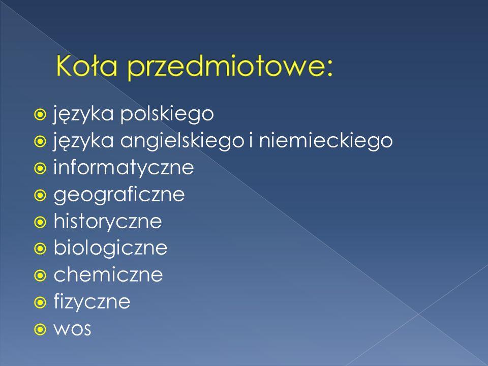 języka polskiego języka angielskiego i niemieckiego informatyczne geograficzne historyczne biologiczne chemiczne fizyczne wos