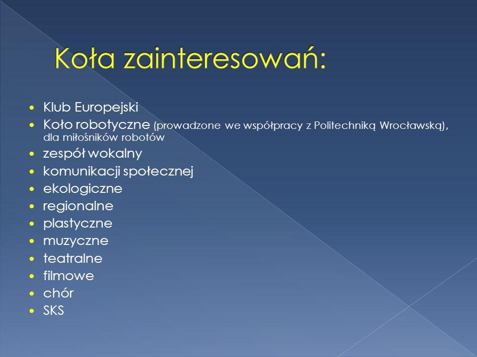 Klub Europejski Koło robotyczne (prowadzone we współpracy z Politechniką Wrocławską), dla miłośników robotów zespół wokalny komunikacji społecznej eko